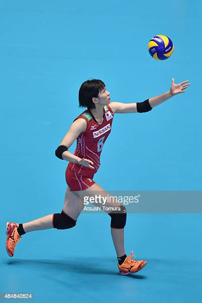 Sarina Koga of Japan serves in the match between Argentina and Japan during the FIVB Women's Volleyball World Cup Japan 2015 at Yoyogi National...