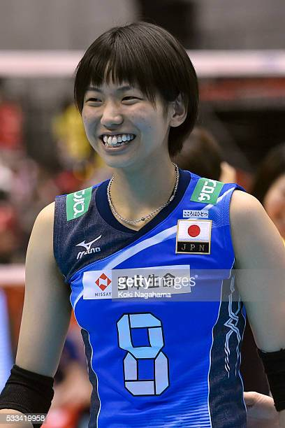 Sarina Koga of Japan smiles after winning the Women's World Olympic Qualification game between Netherlands and Japan at Tokyo Metropolitan Gymnasium...