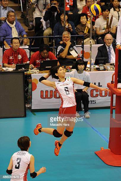 Sarina Koga of Japan spikes during the match between Japan and South Korea during the FIVB Women's Volleyball World Cup Japan 2015 at Sendai City...