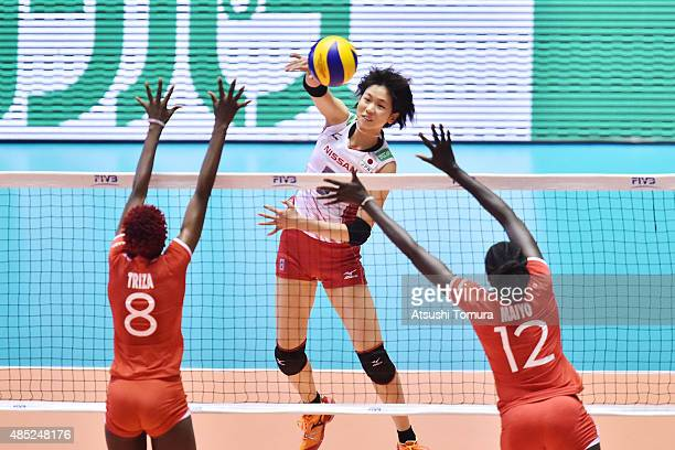 Sarina Koga of Japan spikes in the match between Japan and Kenya during the FIVB Women's Volleyball World Cup Japan 2015 at Yoyogi National Stadium...