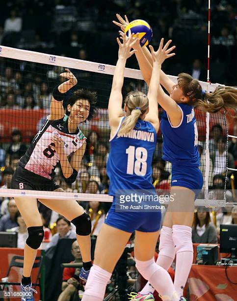 Sarina Koga of Japan spilkes the ball during the Women's World Olympic Qualification game between Japan and Kazakhstan at the Tokyo Metropolitan...