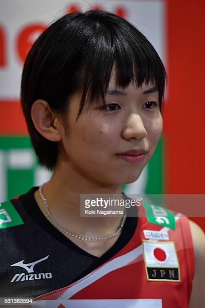 Sarina Koga of Japan talks to the media in the mixed zone after winning the Women's World Olympic Qualification game between Japan and Peru at Tokyo...