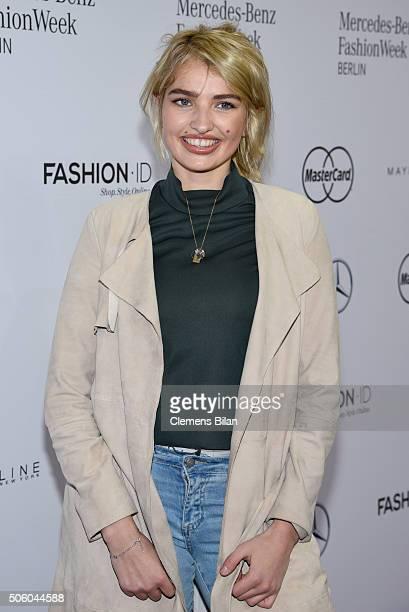 Sarina Nowak attends the Dimitri show during the MercedesBenz Fashion Week Berlin Autumn/Winter 2016 at Brandenburg Gate on January 21 2016 in Berlin...