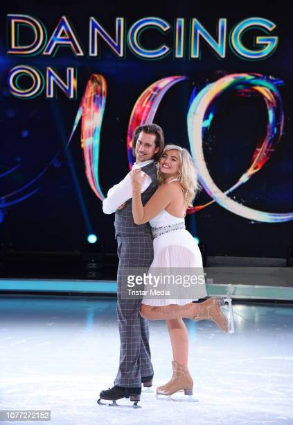 Sarina Nowak David Vincour during a photo call for german Sat1 television show 'Dancing on Ice' at MMCStudios on January 4 2019 in Cologne Germany