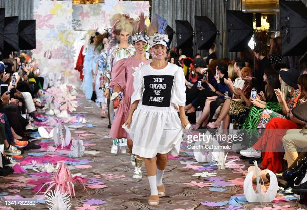 Sarina Taylor walks the runway at the VIN + OMI show during London Fashion Week September 2021 on September 21, 2021 in London, England.