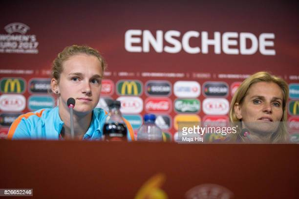 Sarina Wiegman head coach of Netherlands and Vivianne Miedema look on during a press conference prior UEFA Women's Euro 2017 Final against...