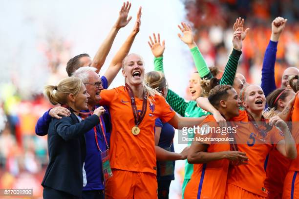 Sarina Wiegman head coach of Netherlands celebrates with her team following the Final of the UEFA Women's Euro 2017 between Netherlands v Denmark at...