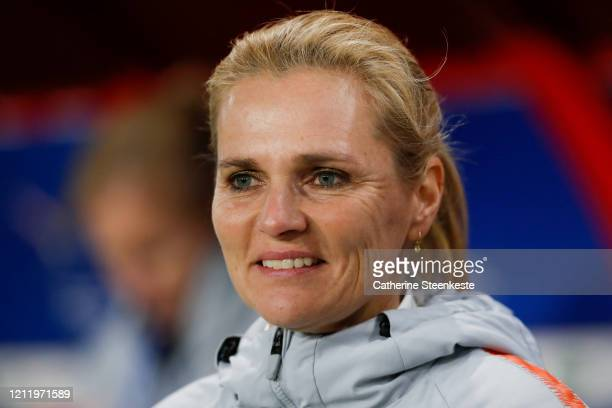 Sarina Wiegman Head Coach of Netherlands looks on before the Tournoi de France match between France and Netherlands at Stade du Hainaut on March 10,...