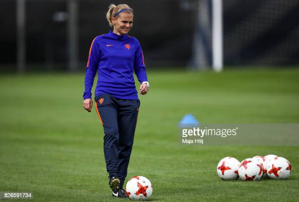 Sarina Wiegman head coach of Netherlands looks on during the Netherlands Training Session at SV De Lutte De Grolsch Veste Stadium on August 5 2017 in...