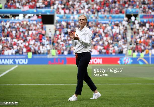 Sarina Wiegman, Head Coach of the Netherlands acknowledges the fans following the 2019 FIFA Women's World Cup France Final match between The United...
