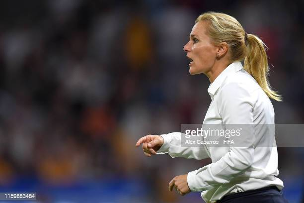 Sarina Wiegman, Head Coach of the Netherlands gives her team instructions during the 2019 FIFA Women's World Cup France Semi Final match between...