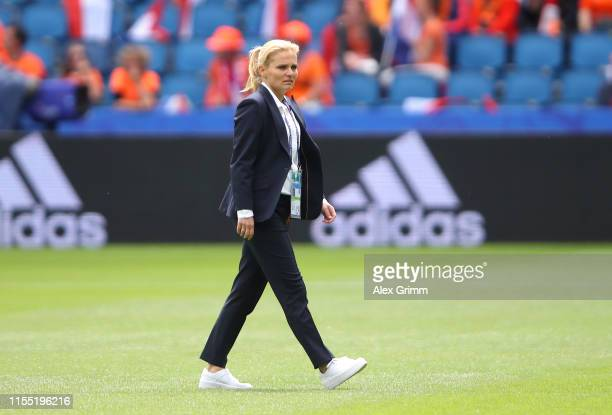Sarina Wiegman, head coach of the Netherlands looks on during a pitch inspection prior to the 2019 FIFA Women's World Cup France group E match...