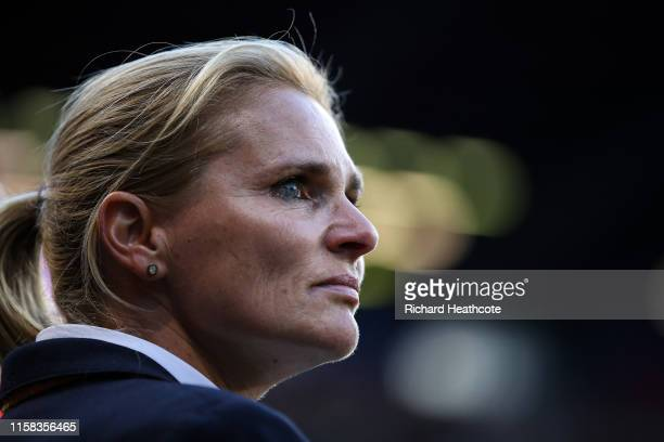 Sarina Wiegman, Head Coach of the Netherlands looks on during the 2019 FIFA Women's World Cup France Round Of 16 match between Netherlands and Japan...