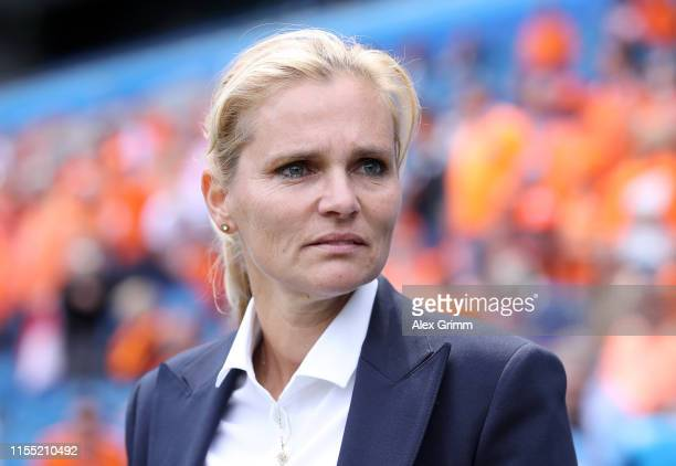 Sarina Wiegman, head coach of the Netherlands looks on prior to the 2019 FIFA Women's World Cup France group E match between New Zealand and...
