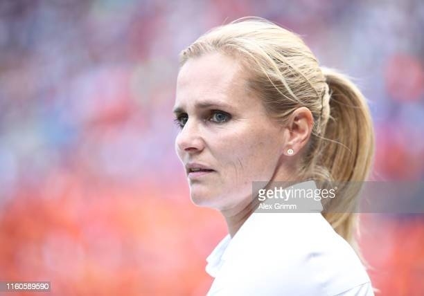 Sarina Wiegman, Head Coach of the Netherlands looks on prior to the 2019 FIFA Women's World Cup France Final match between The United States of...