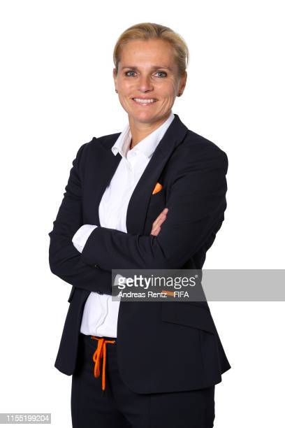 Sarina Wiegman, Head Coach of the Netherlands poses for a portrait during the official FIFA Women's World Cup 2019 portrait session at Hotel Novotel...