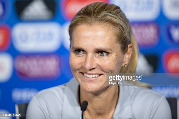 Sarina Wiegman, head coach of the Netherlands speaks during a press conference on July 06, 2019 in Lyon, France.
