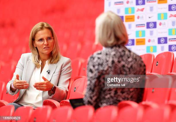 Sarina Wiegman is interviewed by the media as she is unveiled As New Senior Head Coach Of The England Women's Team at Wembley Stadium on September...