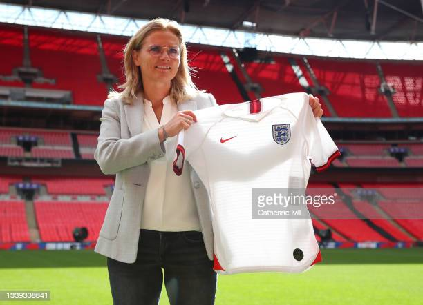 Sarina Wiegman is unveiled As New Senior Head Coach Of The England Women's Team at Wembley Stadium on September 09, 2021 in London, England.
