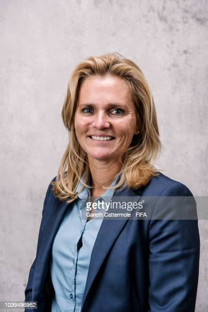 Sarina Wiegman, Manager of the Women's Netherlands national team poses for a portrait prior to The Best FIFA Football Awards at London Marriott Hotel...