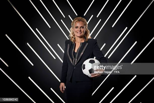 Sarina Wiegman pictured inside the photo booth prior to The Best FIFA Football Awards at Royal Festival Hall on September 24, 2018 in London, England.