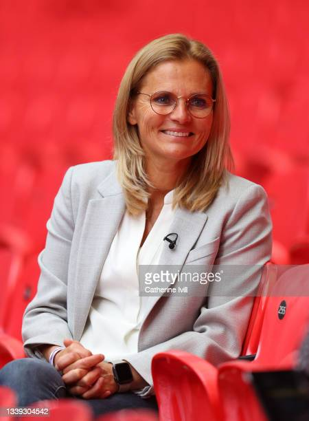 Sarina Wiegman poses for a photo as she is unveiled As New Senior Head Coach Of The England Women's Team at Wembley Stadium on September 09, 2021 in...
