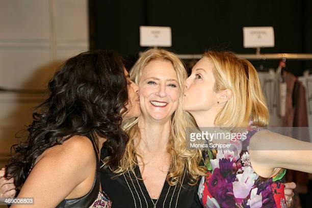Sarita Choudhury Nanette Lepore and Kelly Rutherford pose backstage at the Nanette Lepore fashion show during MercedesBenz Fashion Week Fall 2014 at...