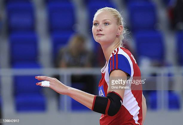 Sarka Barborkova of Czech Republic looks on during the Women's Volleyball European Championship match between Israel and Czech Republic on September...