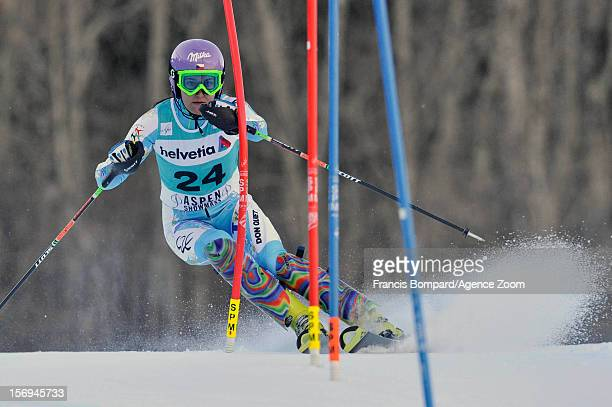 Sarka Zahrobska of the Czech Republic competes during the Audi FIS Alpine Ski World Cup Women's Slalom on November 25 2012 in Aspen Colorado