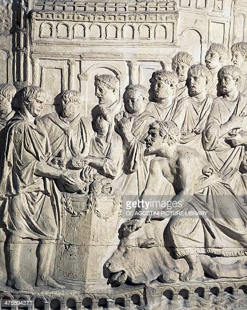 Sarmatians payng their taxes mold of a relief from Trajan's column Roman civilisation 2nd century Rome Museo Della Civiltà Romana