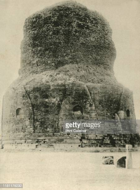 Sarnath Benares' The Dhamekh Stupa at Sarnath in Uttar Pradesh India built in 500 AD The stupa is said to mark the spot where the Buddha gave the...