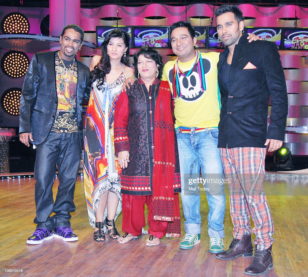 Saroj Khan and Ahmed Khan with Bosco-Caeser on the sets of the show Chak Dhoom Dhoom in Mumbai on May 18, 2010.