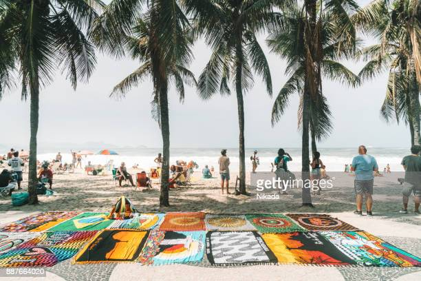 sarongs and towels for for sale at Copacabana beach