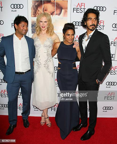 Saroo Brierley and actors Nicole Kidman Priyanka Bose and Dev Patel attend the premiere of The Weinstein Company's 'Lion' at AFI Fest 2016 presented...