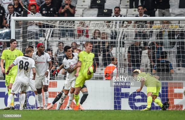 Sarpsborg's Kristoffer Zachariassen scores a goal during the UEFA European League Group I football match between Besiktas and Sarpsborg at Besiktas...