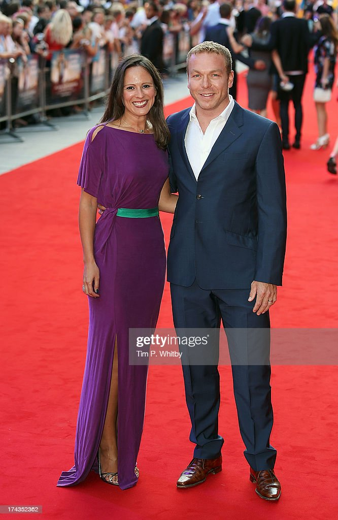 Sarra Kemp and Sir Chris Hoy attends the 'Alan Partridge: Alpha Papa' World Premiere Day at Vue Leicester Square on July 24, 2013 in London, England.