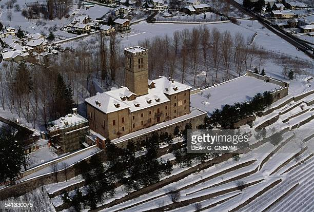 Sarre castle 18th century aerial view Valle d'Aosta Italy