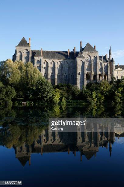 Sarthe river and Solesme abbey France