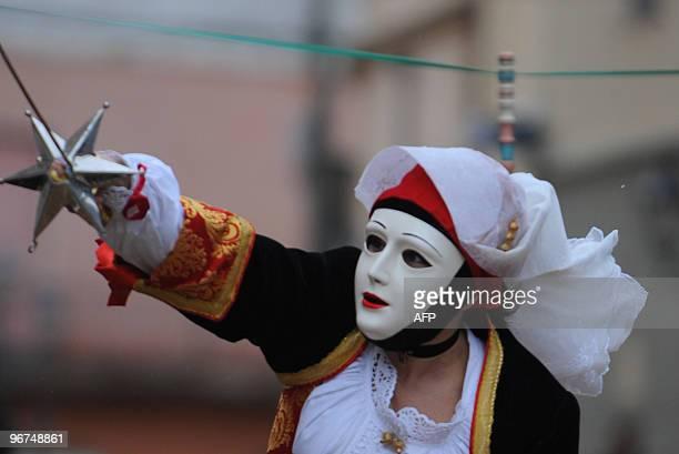 A Sartiglia knight performs during the 545th Carnival in Oristano on the Italian island of Sardinia on February 16 2010 The Sartiglia is an...