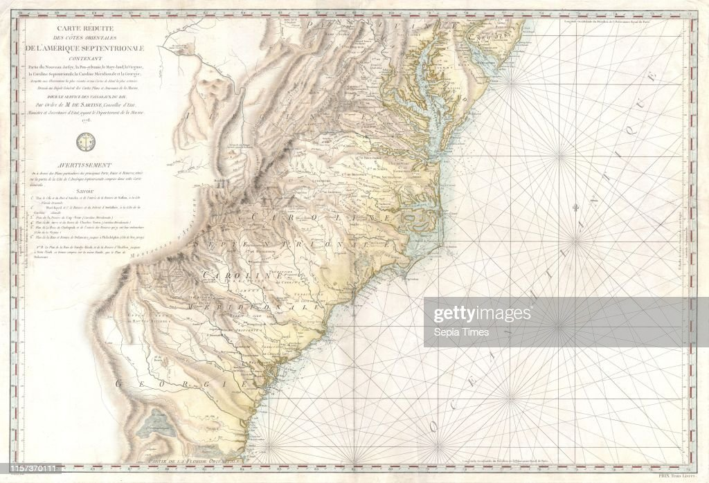 1778, Sartine Map of Georgia, North Carolina, South Carolina ...