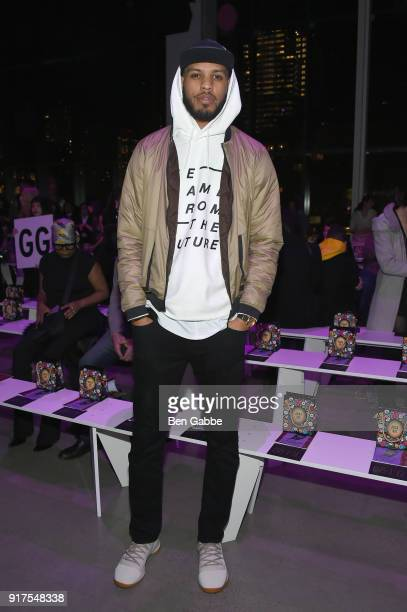 Sarunas J Jackson attends the Anna Sui fashion show during New York Fashion Week The Shows at Gallery I at Spring Studios on February 12 2018 in New...