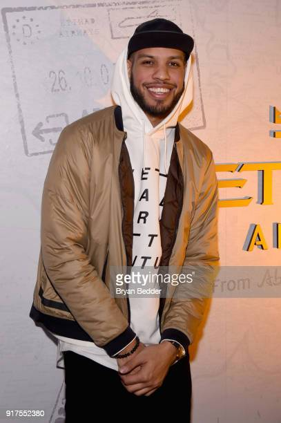 Sarunas J Jackson relaxes in the Etihad Airways VIP Lounge at NYFW The Shows at IMG NYFW The Shows LOBBY on February 12 2018 in New York City