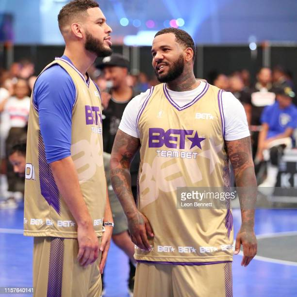 Sarunas Jackson and The Game play in the BETX Celebrity Basketball Game Sponsored By Sprite during the BET Experience at Los Angeles Convention...