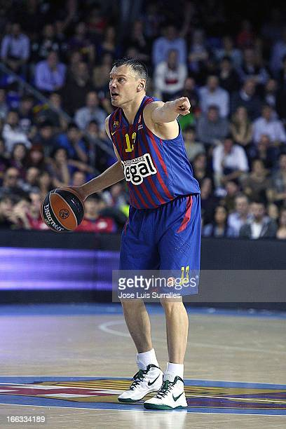 Sarunas Jasikevicius #13 of FC Barcelona Regal in action during the Turkish Airlines Euroleague 20122013 Play Offs game 2 between FC Barcelona Regal...