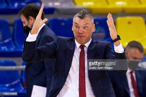 Sarunas Jasikevicius, head coach of FC Barcelona during the 2020/2021 Turkish Airlines EuroLeague match between FC Barcelona and Fenerbahce Beko...