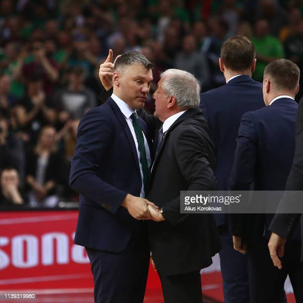 Sarunas Jasikevicius Head Coach of Zalgiris Kaunas and Zeljko Obradovic Head Coach of Fenerbahce Beko Istanbul in action during the Turkish Airlines...