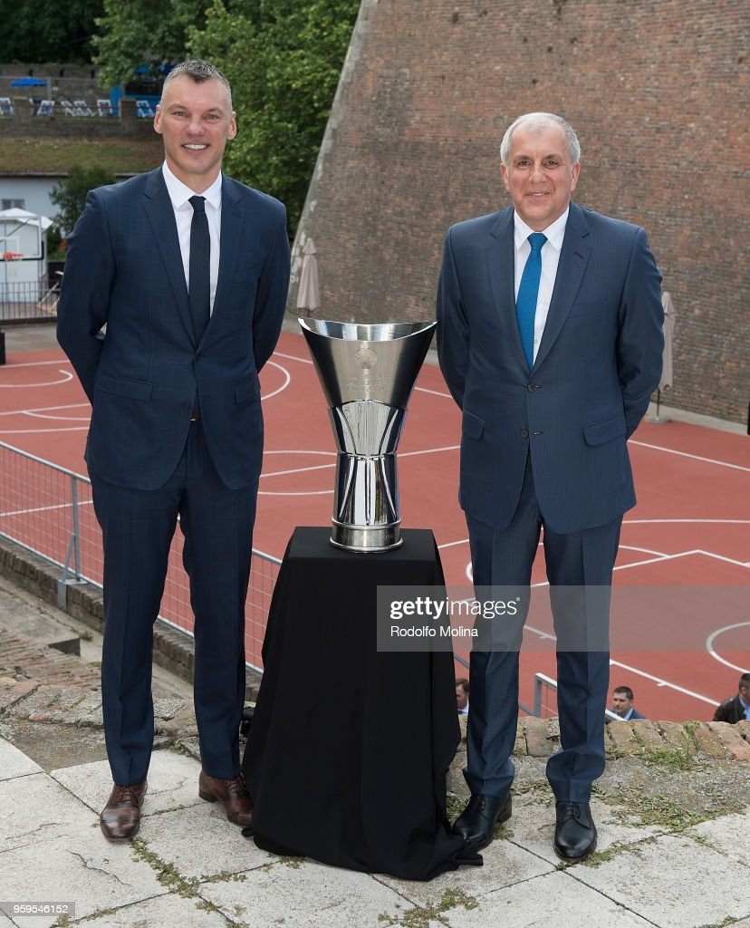 Sarunas Jasikevicius, Head Coach of Zalgiris Kaunas and Zeljko Obradovic, Head Coach of Fenerbahce Dogus Istanbul during the 2018 Turkish Airlines EuroLeague F4 Photo Opportunity at Kalemegdan Fortress and Park on May 17, 2018 in Belgrade, Serbia.