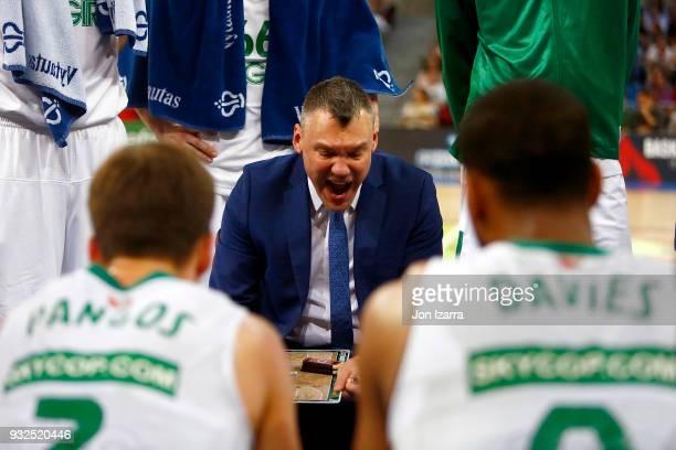Sarunas Jasikevicius Head Coach of Zalgiris Kaunas during the 2017/2018 Turkish Airlines EuroLeague Regular Season Round 26 game between Baskonia...