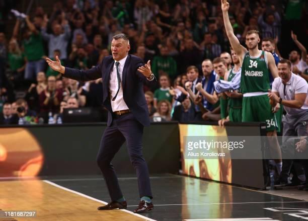 Sarunas Jasikevicius, Head Coach of Zalgiris Kaunas reacts during the 2019/2020 Turkish Airlines EuroLeague Regular Season Round 3 match between...