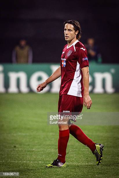 Sasa Bjelanovic of CFR 1907 Cluj in action during the UEFA Champions League group stage match between CFR 1907 Cluj and Manchester United FC on...